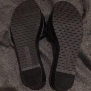 Nine West Shoes - Women's black open toe wedge sandals